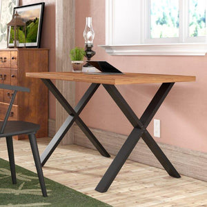 Solid Sheesham wood & Iron X shape Study Desk computer office table for home and office - Furnishiaa