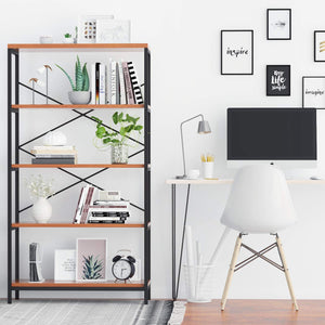 Storage Shelves Industrial 4 Shelf Bookcase Metal and Wooden Bookshelves Rustic Shelves Sturdy Book Stand Shelving Units Decor Display Cabinet Tall Bookshelf for Home Office - Furnishiaa