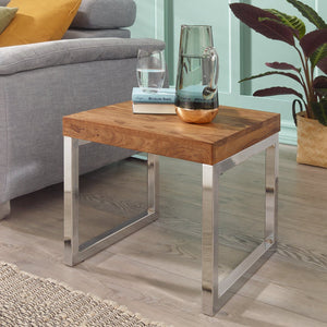 Furnishiaa Sheesham Wood & Steel Bedside End Tables Night Stand Side Stool for Bedroom Living Room Home (Silver and Natural Brown Finish) - Furnishiaa