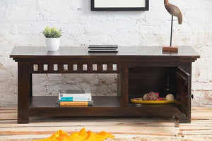 Solid sheesham wood showcase tv unit cabinet - Furnishiaa