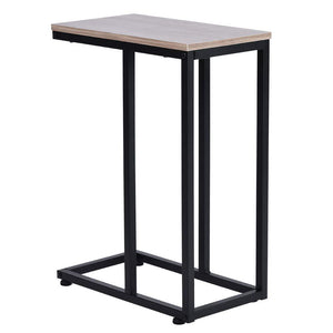 Sheesham Wood & Iron C Shape Bedside End Tables Night Stand Side Stool for Bedroom Living Room Home (Black and Brown Finish) - Furnishiaa