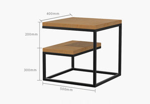 Sheesham Iron Frame Solid Wood Bedside Table for Bedroom Sofa Accent Table for Living Room Night Stand Side Table - Furnishiaa