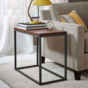 Iron Frame Solid Wood Bedside Table for Living Room - Furnishiaa