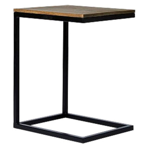 Wooden & Iron C Shape Bedside Night Stand End table Tables for Bedroom & Living Room(Black) - Furnishiaa
