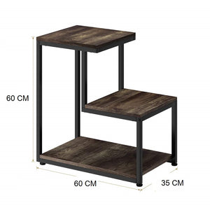 Sheesham Wood & Iron Ladder Shape Bedside End Tables Night Stand Side Stool for Bedroom Living Room Home (Black and Walnut Finish) - Furnishiaa