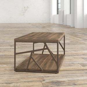 Solid Wood & Iron Center Coffee Table for Home (Brown) - Furnishiaa