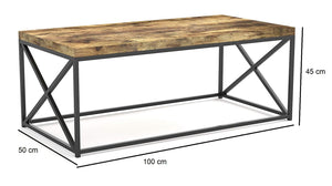 Iron Frame Solid Wood Center Coffee Tables for Living Room - Furnishiaa