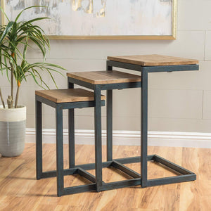 Iron Frame Solid Wood Nesting Tables for Home Set of 3 Stools for Living Room Black - Furnishiaa