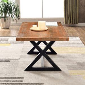 Solid Wooden & Iron Center Coffee Table for Home (Black) - Furnishiaa
