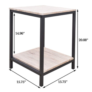 Sheesham Iron Frame Solid Wood Bedside End Table for Living Room Accent Table Night Stand for Bedroom - Furnishiaa