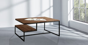 Furnishiaa Solid Wooden & Iron Center Coffee Table for Home & Living Room (Black) - Furnishiaa