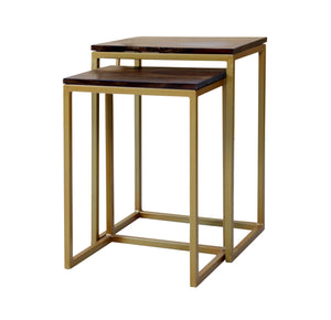 Sheesham Iron Frame Solid Wood Nesting Tables for Home Set of 2 Stools for Living Room - Furnishiaa