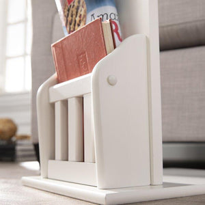 C shape Night Stand End Beside Table White for living and home - Furnishiaa