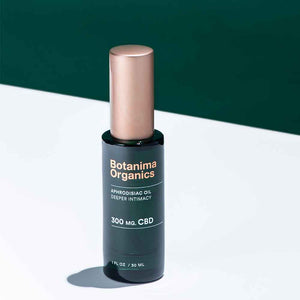 CBD-Aphrodisiac-Oil-Dark-Green-Bottle-With-Rose-Gold-Cap-Green-Background