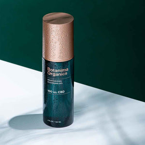 Load image into Gallery viewer, CBD-Moisturizing-Cleansing-Gel-Dark-Green-Bottle-With-Rose-Gold-Cap