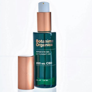 CBD-Repair-Eye-Gel-for-Reducing-Puffiness-Botanima-Organics-Premium-Skincare-Open-Bottle