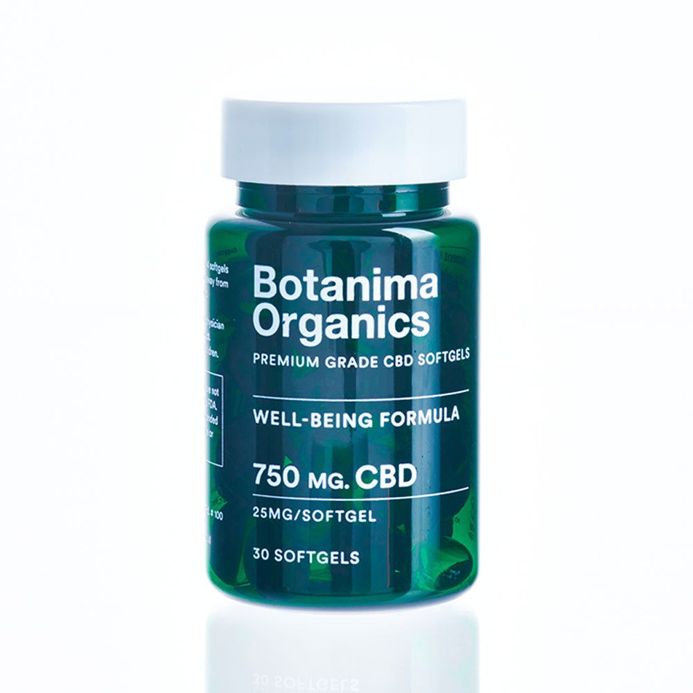 Premium-CBD-Softgels-Jar-25mg-Well-being-Formula-Botanima-Organics