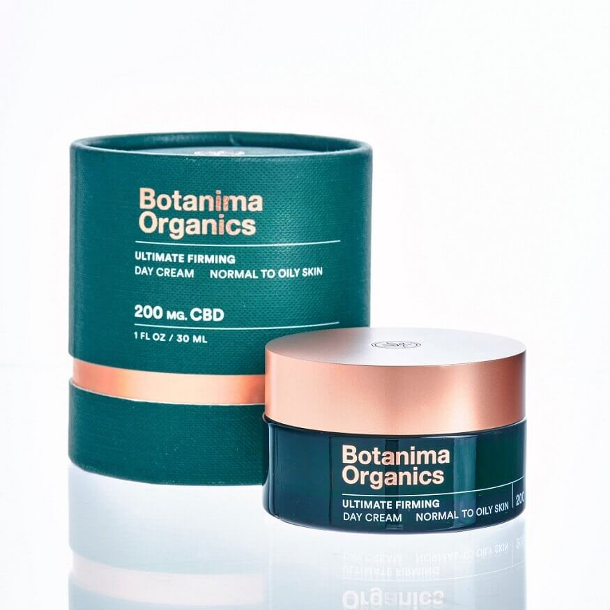 Ultimate-Firming-CBD-Cream-for-Normal-to-Oily-Skin-Dark-Green-Jar-With-Rose-Gold-Cap-With-Carton-Box