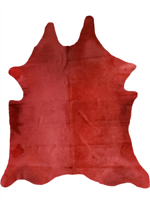 Cowhide Free Form Area Rug [ Red ]