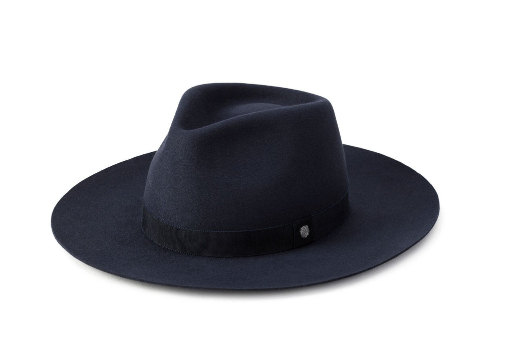 TAU Amsterdam hat navy fedora kalap fur felt decorated with tonal petersham and lion logo designed in Budapest unisex accessory
