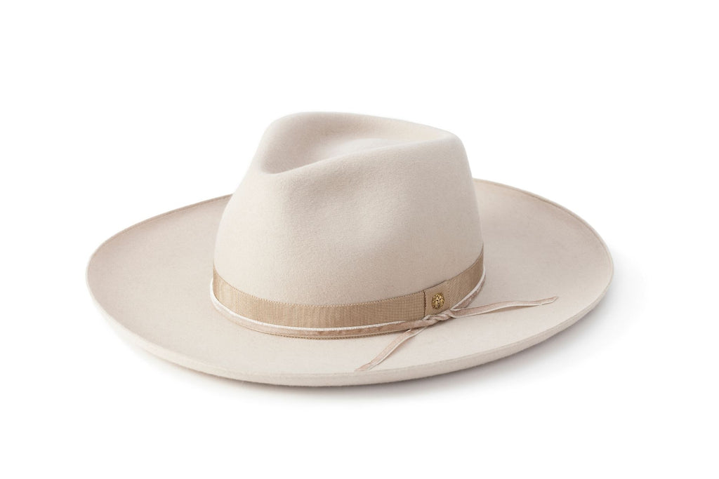 TAU Brooklyn ivory hat fedora kalap fur felt decorated with tonal petersham and lion logo designed in Budapest unisex accessory
