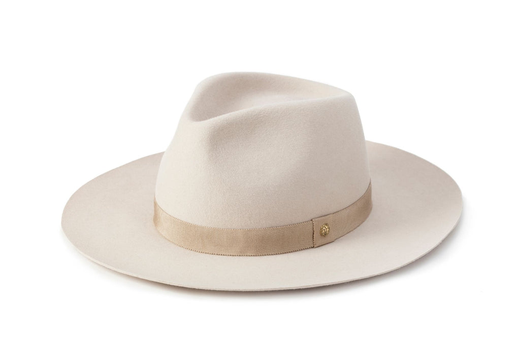 TAU Amsterdam hat ivory fedora kalap fur felt decorated with tonal petersham and lion logo designed in Budapest unisex accessory