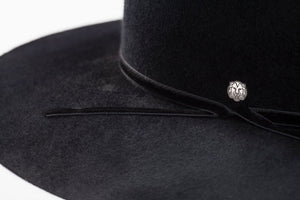 TAU Berlin hat black boater kalap fur felt decorated with velvet band and lion logo designed in Budapest detail picture