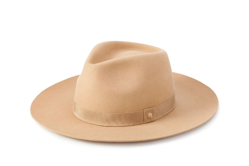 TAU Amsterdam hat camel fedora kalap fur felt decorated with tonal petersham and lion logo designed in Budapest unisex accessory
