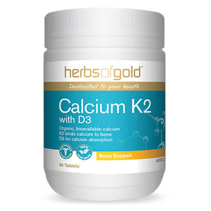 Calcium K2 with D3 90 Tablets by Herbs of Gold