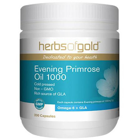 Image of Evening Primrose Oil 1000mg 200 Capsules by Herbs Of Gold