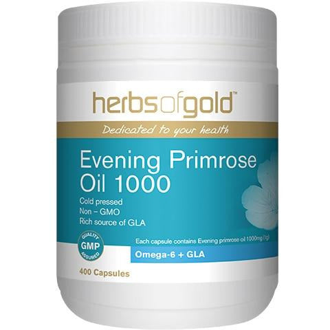Image of Evening Primrose Oil 1000mg 400 Capsules by Herbs Of Gold