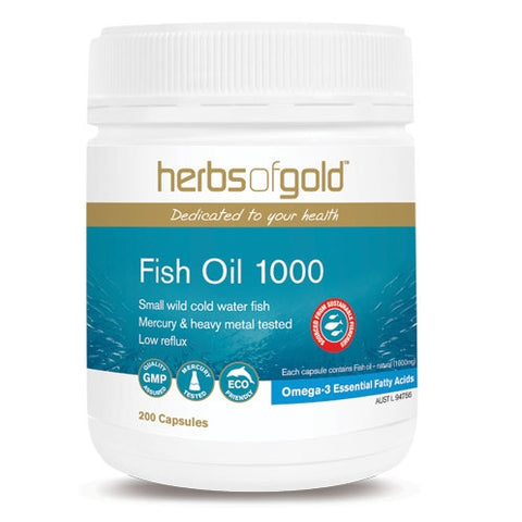 Image of Fish Oil 1000mg 200 Capsules - Herbs of Gold
