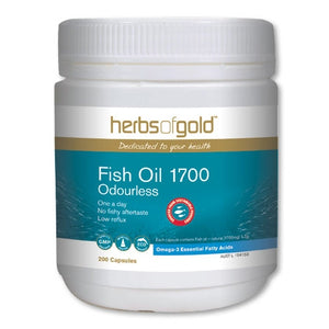 Fish Oil 1700 Odourless 200 Capsules - Herbs of Gold