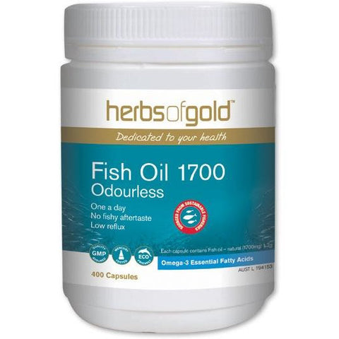 Image of Fish Oil 1700 Odourless 400 Capsules - Herbs of Gold