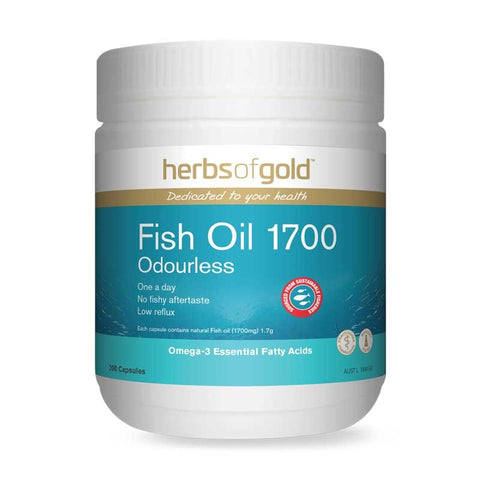 Image of Fish Oil 1700 Odourless 200 Capsules by Herbs of Gold