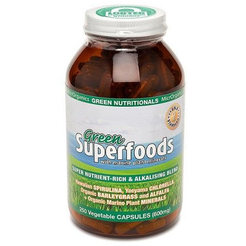 Green Superfoods 250 Vege Capsules by Green Nutritionals (MicrOrganics)