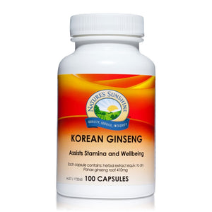 Korean Ginseng 410mg 100 Capsules by Natures Sunshine