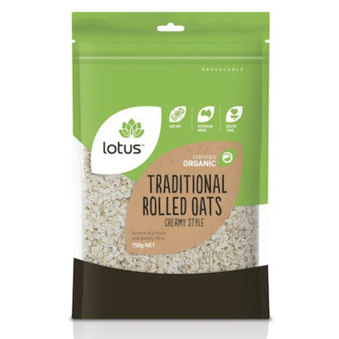 Lotus Oats Rolled Traditional Creamy Style Organic