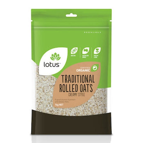 Lotus Oats Rolled Traditional Creamy Style Organic 1kg