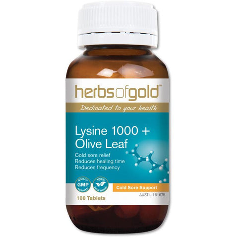 Image of Lysine 1000 + Olive Leaf by Herbs of Gold