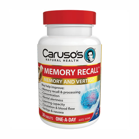 Image of Memory Recall 30 Tablets by Carusos Natural Health
