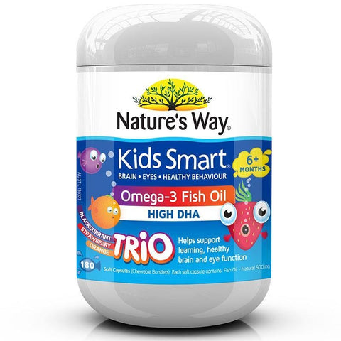 Kids Smart Omega 3 Fish Oil Trios 180 Chewables by Natures Way