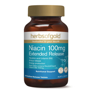 Herbs of Gold Niacin 100mg Extended Release 60 Tablets