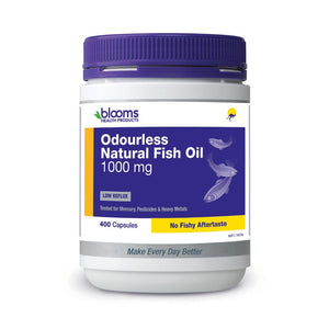 Odourless Natural Fish Oil 1000mg 400 Capsules by Blooms