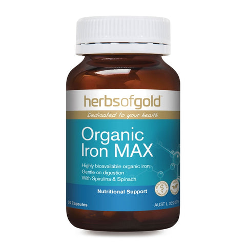 Image of Organic Iron Max 30 Capsules by Herbs of Gold