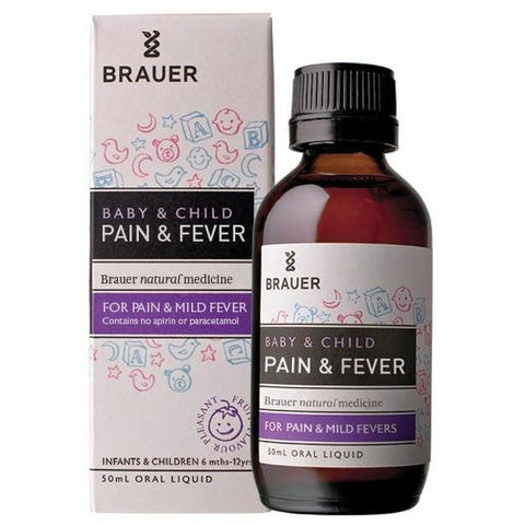 Baby & Child Pain & Fever Oral Liquid 50ml by Brauer Natural Medicines