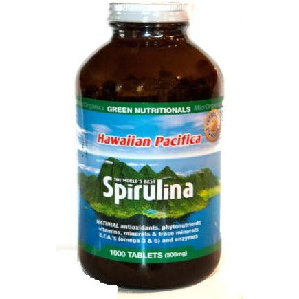 Image of Hawaiian Pacifica Spirulina 1000 Tablets by Green Nutritionals (MicrOrganics)