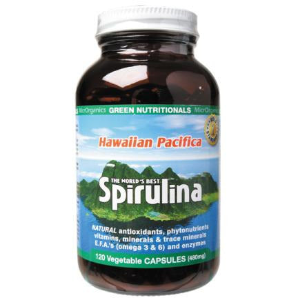 Image of Hawaiian Pacifica Spirulina 120 Vege Capsules by Green Nutritionals (MicrOrganics)