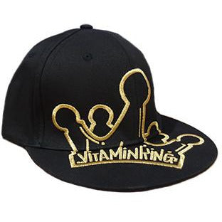 Black Flatbrim Cap Gold VK Crown by Vitamin King