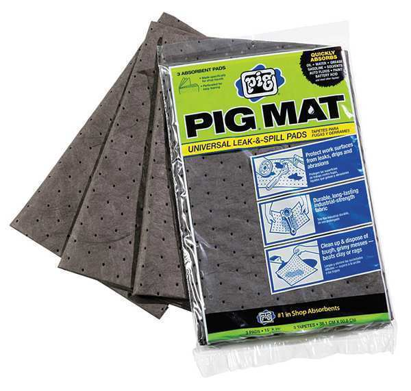 NEW PIG 26306 3-pk Absorbent Mats Oil-Only